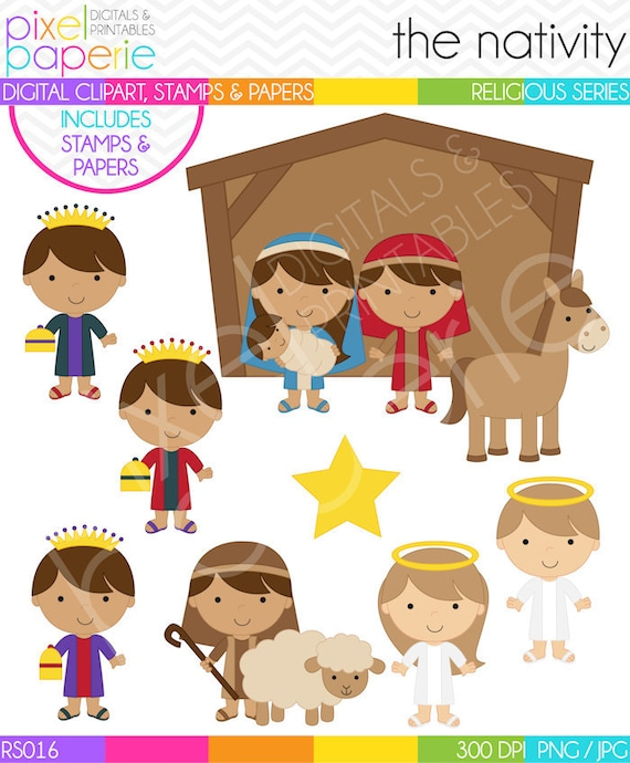 Christmas Clip Art Religious.Christmas Clipart Clip Art Christian Nativity Bible Sweet Nativity Digital Clipart Stamps Papers Rs016