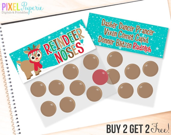 Reindeer Noses Printable Bag Toppers