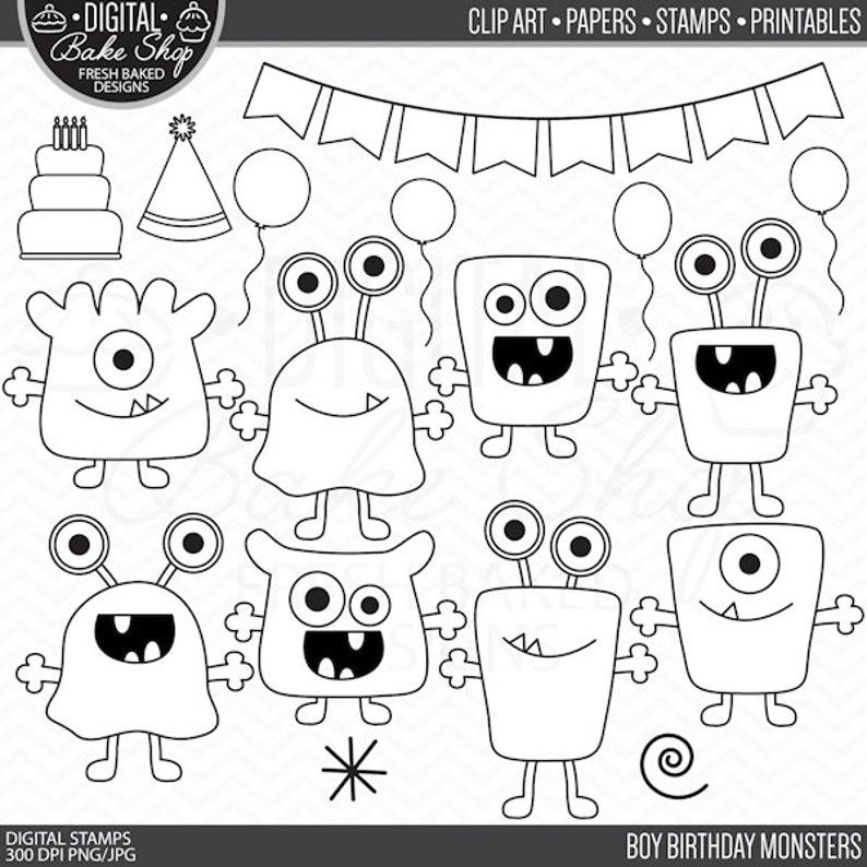 Monsters Stamps Birthday Clip Art Digital Aliens Clipart Boy