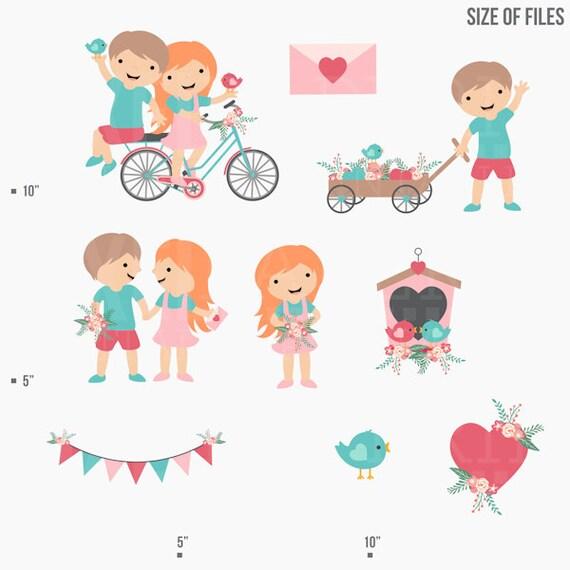 Valentinstag Clipart Digitale Clipart Kinder Kinder Vogel Etsy