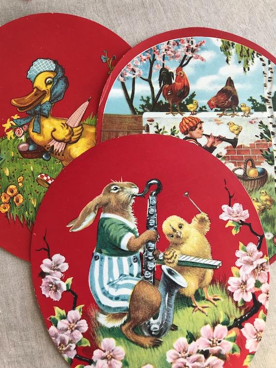 Easter Egg Bunny EF7205 German Embossed Vintage Style Scrap Die Cut Relief