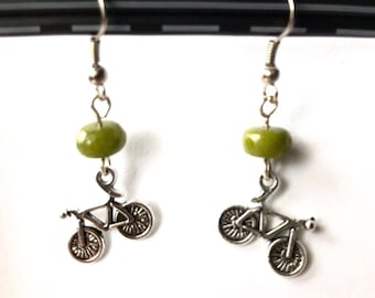 Bicycle and Peridot Earrings, Ready to Ship