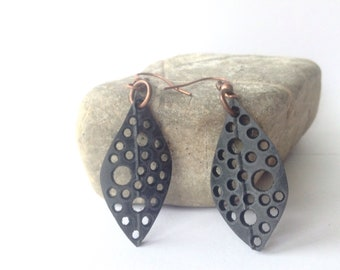 Upcycled Inner Tube Earrings, Recycled Bike Inner Tubes, Eco Friendly, Black Vegan Leather, Recycled Materials