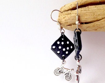 Recycled Bicycle Inner Tube Earrings with Bike Charm, Black and Silver, Recycled Materials