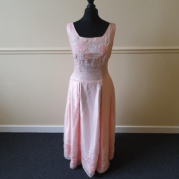 1950s pink formal prom dress vintage - image 1