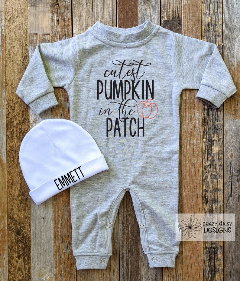 Fall Jumper Halloween Baby Pajamas Cutest Pumpkin in the Patch Outfit Pumpkin Patch Fall Outfit My First Halloween Romper