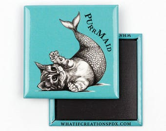 Purrmaid   Mermaid + Cat Hybrid Animal   Cat Fridge Magnet   Mermaid Refrigerator Magnets   Cute Cat Gift   Whatif Creations   Portland, OR