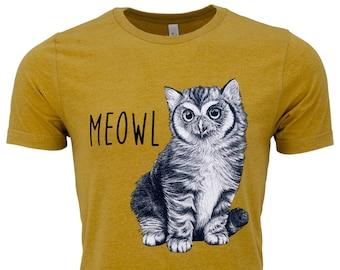 Meowl T Shirt   Cat + Owl Hybrid Animal   Mustard Unisex Cat Owl T Shirt   Cat Gift Graphic Tee   Owl Tshirt   Whatif Creations