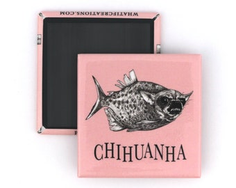 "Chihuanha Fridge Magnet   Chihuahua + Piranha Hybrid Animal   2"" Square Refrigerator Magnet"