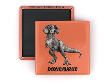 "Doxisaurus Fridge Magnet   Dachshund + TRex Hybrid Animal   2"" Square Refrigerator Magnet"