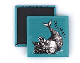 "Purrmaid Fridge Magnet | Mermaid + Cat Hybrid Animal | 2"" Square Fridge Magnet"