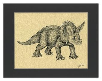"Tricerahops Parchment Print   Triceratops + Bunny Rabbit Hybrid Animal   8.5x11"" Art Print in 11x14"" Black Mat"