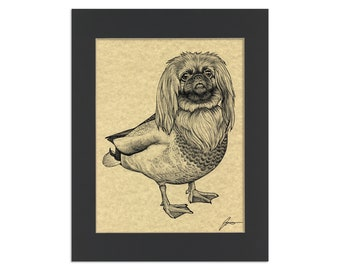 "Peking Duck Parchment Print   Pekingese + Duck Hybrid Animal   8.5x11"" Art Print in 11x14"" Black Mat"