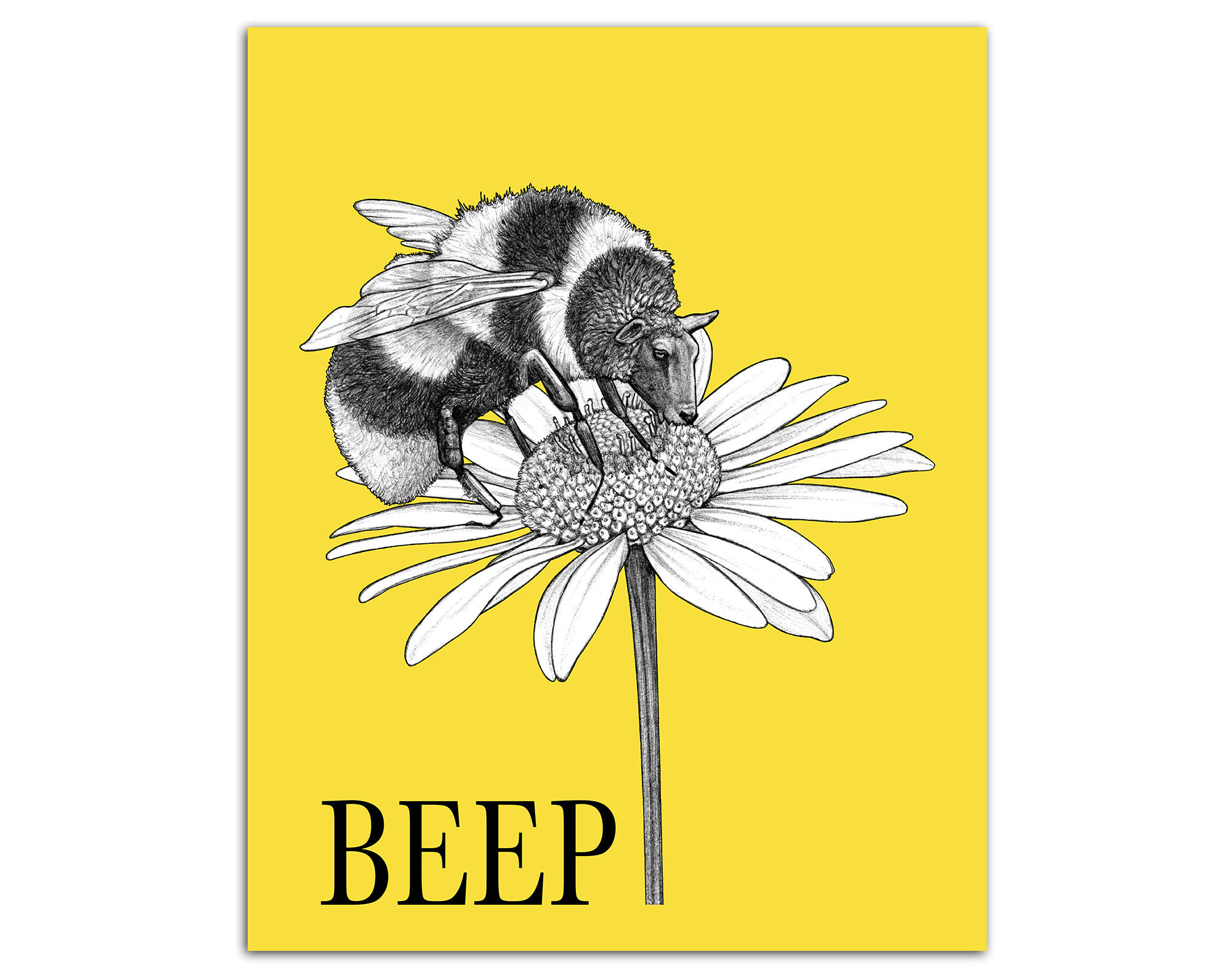 Beep 8x10 Art Print Bee Sheep Hybrid Animal Cute Bumble | Etsy