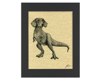 "Doxisaurus Parchment Print | Dachshund + TRex Hybrid Animal | 8.5x11"" Art Print in 11x14"" Black Mat"