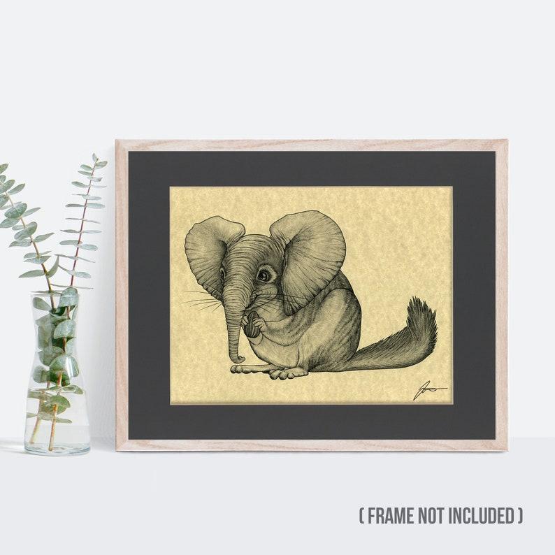 Chinchilla Elephant Hybrid Animal 8.5x11 Art Print in 11x14 Black Mat Chinchillaphant Parchment Print