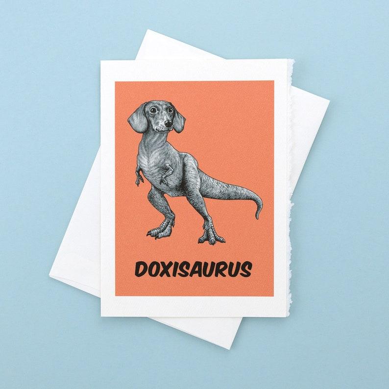 Doxisaurus Greeting Card  Dachshund  TRex Hybrid Animal  image 0
