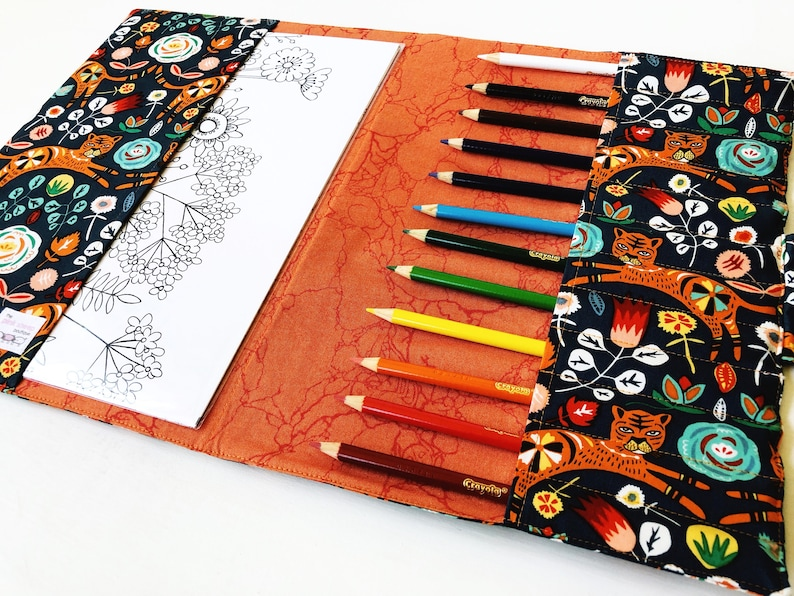 Tiger Coloring Book Holder for Teens and Tweens- Adult Coloring Case
