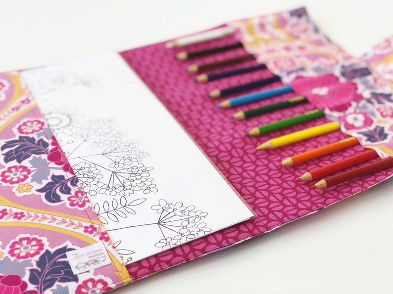 Pink Floral Coloring Book Holder for Teens and Tweens- Adult Coloring Case