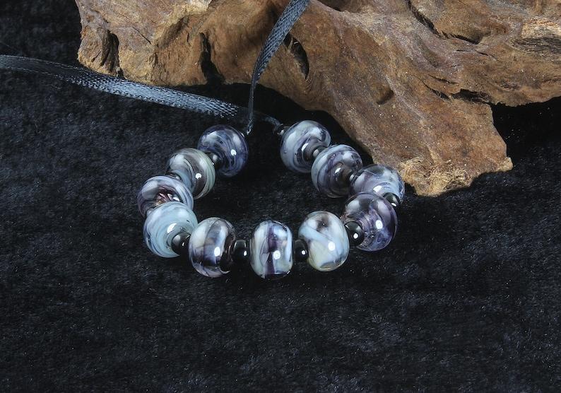 11 Handmade Black Gray Mini Lampwork Beads Set SRA Black Lampwork Beads Stephanie White Handmade Lampwork Beads Gray Lampwork Beads