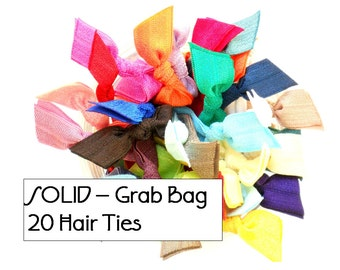 GRAB BAG - 20 Random SOLID Elastic Hair Ties / Bracelets / Hair Band - Anthropologie Inspired