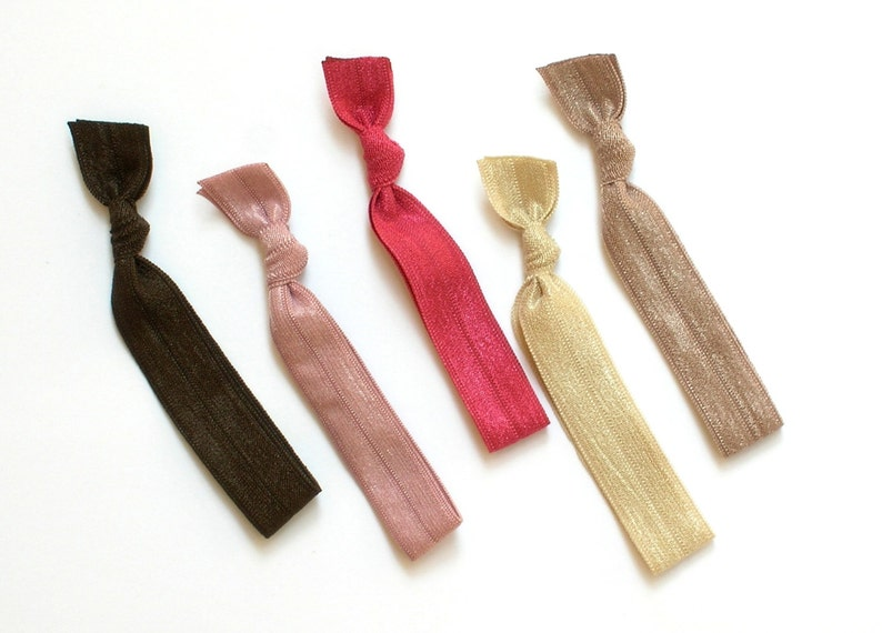 Autumn Bloom  5 Comfort Elastic Hair Ties / Bands / Bracelets image 0