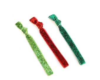 Glitter Trio - 3  Skinny Sparkle Elastic Hair Tie - Sparkle  Bling Hair Accessories