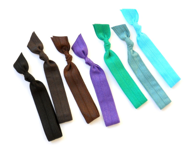 Peacock  7 Comfort Elastic Hair Ties / Bands / Bracelets image 0