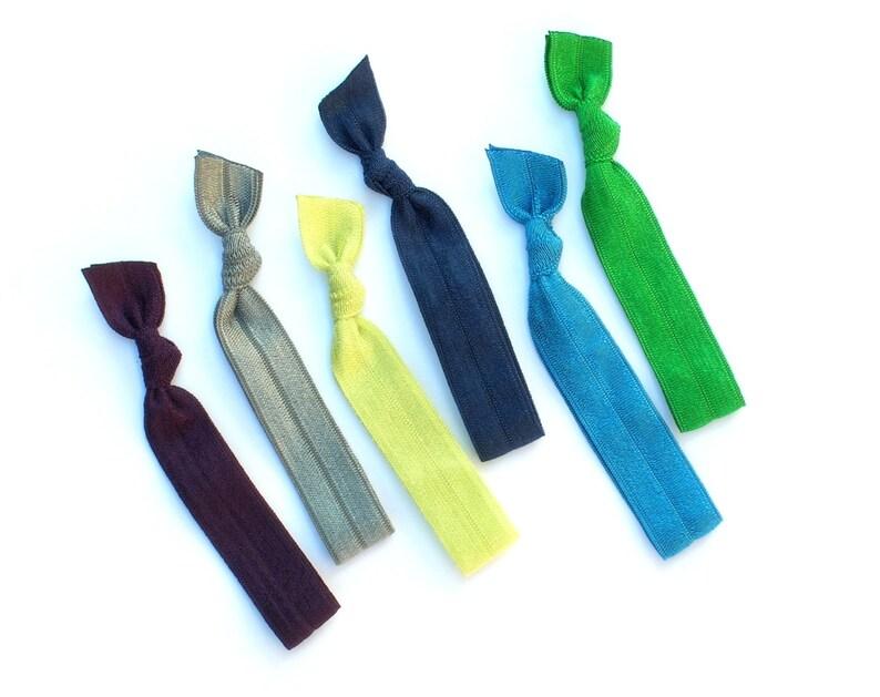 Peacock II  6 Comfort Elastic Hair Ties / Bands / Bracelets image 0