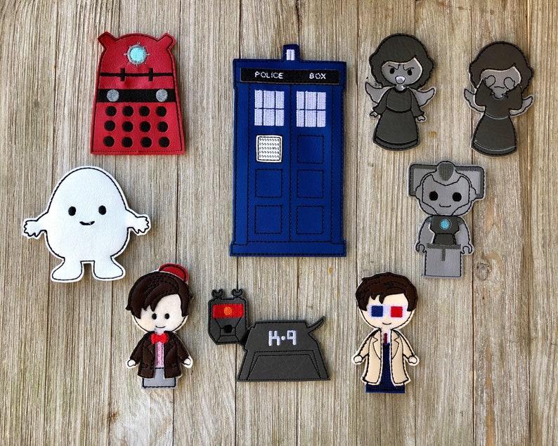 Dr Who inspired finger puppet set
