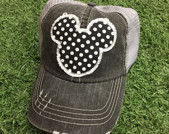cheap for discount 48f5b 645a2 Mickey Mouse Disneyland Disney World Polka Dot Baseball Ladies Womens Trucker  Hat