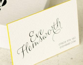 Luxury Custom Business Card | Painted Edge Business Card | Calligraphy Style Coloured Edge Business Card | Modern Business Card |