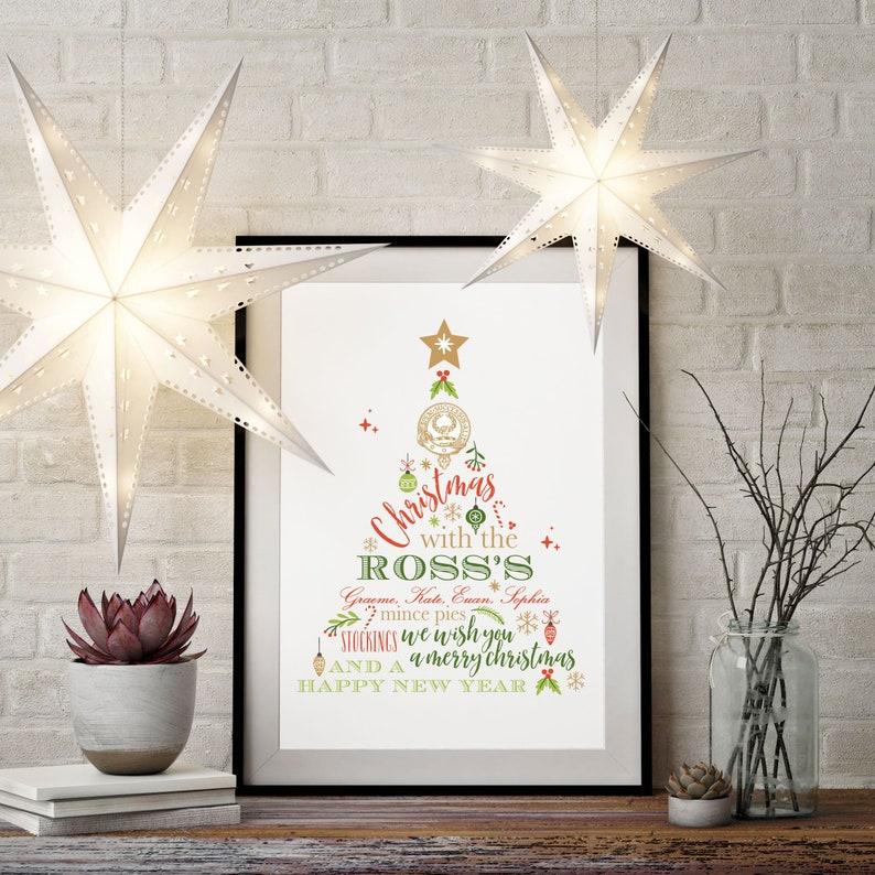 Christmas Family Print, Christmas Decor, Scottish Clan Print, Family Crest,  Christmas Clan Crest, Christmas Print, Family Print,