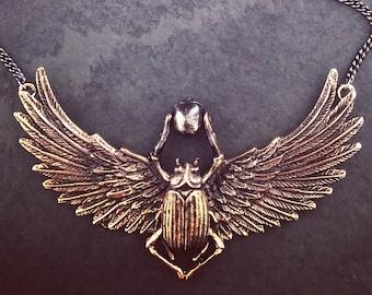 Scarab Necklace - Bronze Scarab Pendant - Scarab Beetle Necklace
