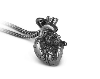 Sterling Silver Small Anatomical Heart Necklace - Small Black Sterling Silver Anatomical Heart Pendant
