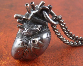 Sterling Silver Anatomical Heart Necklace - Oxidized .925 Anatomical Heart Pendant - Black Heart