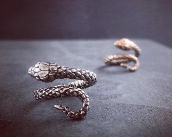 Snake Ring - Antique Silver Snake Bypass Ring - Adjustable Snake Ring