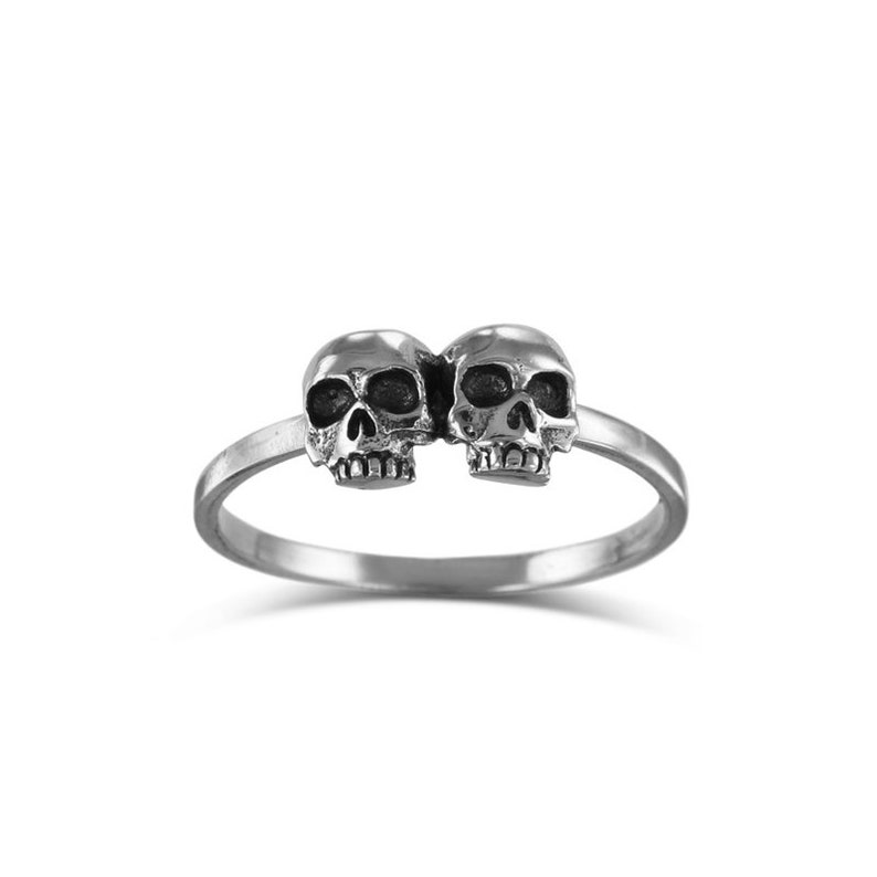 Double Skull Stacking Ring  Antique Silver Two Skull image 0