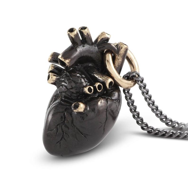 Black Anatomical Heart Necklace  Black Heart Pendant image 0
