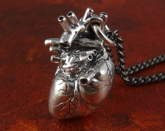 Sterling Silver Anatomical Heart Necklace - Sterling Silver Heart Pendant