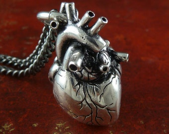 Anatomical Heart Necklace - Antique Silver Anatomical Heart Pendant