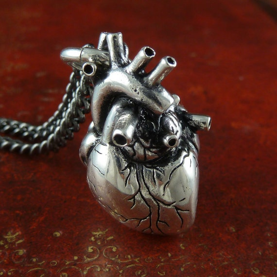 Anatomical Heart Necklace Antique Silver Anatomical Heart Etsy