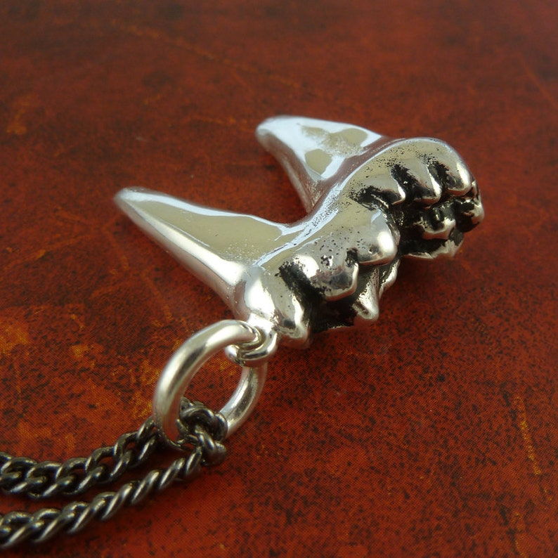 Antique Silver Cave Bear Molar Tooth on Gunmetal Chain Molar Tooth Pendant Tooth Necklace