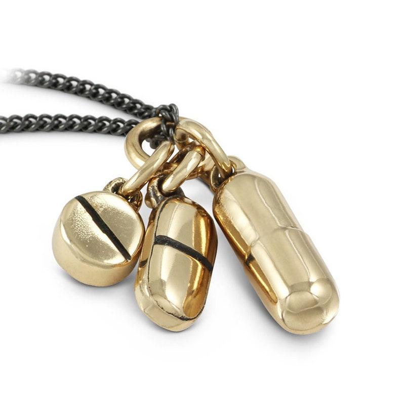Pills Necklace  Bronze Pill Pendant  Xanax Drug Medication image 0