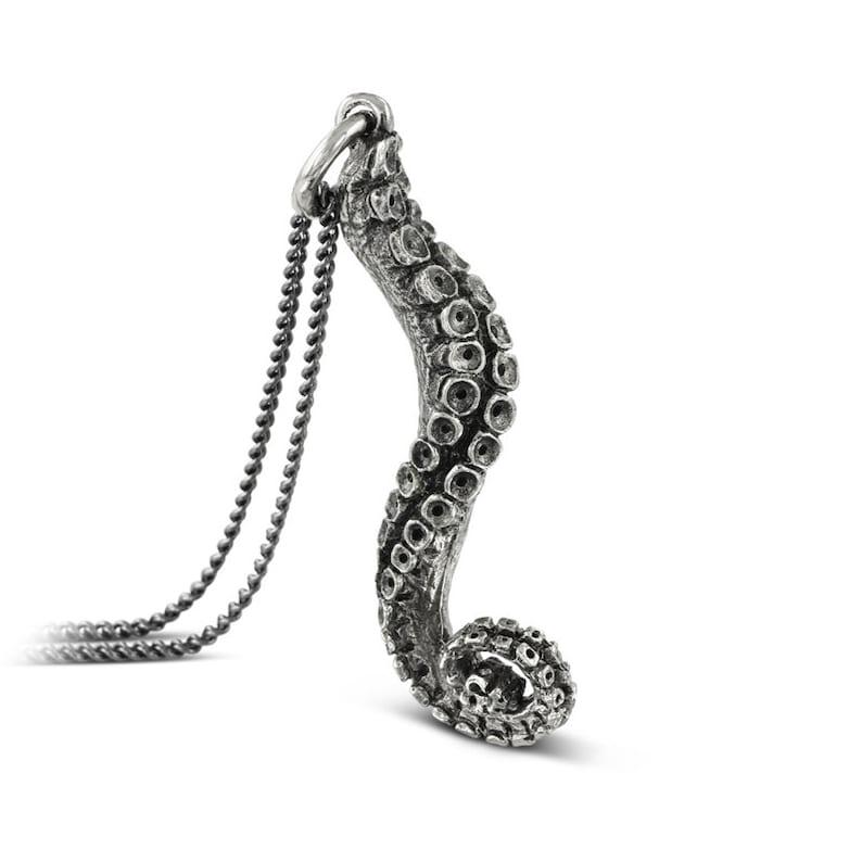Tentacle Necklace  Antique Silver Tentacle Pendant image 0