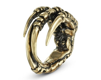 Crow Claw Ring - Bronze Bird Claw Ring - Raven Claw Ring