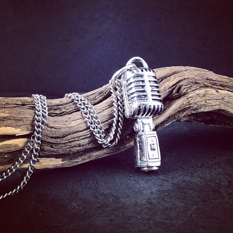 Microphone Necklace  Sterling Silver Microphone Pendant image 0