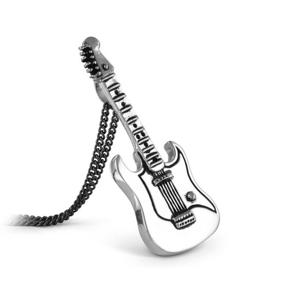 Guitar Necklace Antique Silver Electric Guitar Pendant Etsy