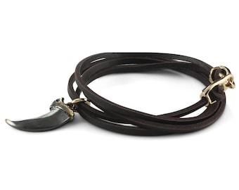 Wolf Claw Bracelet - Leather Wrap Black Claw Bracelet - Bronze Claw Bracelet