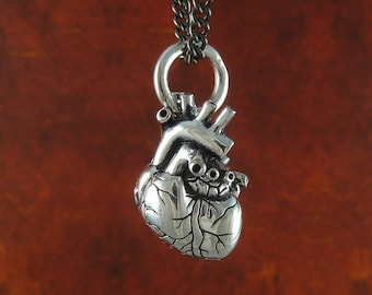 Small Anatomical Heart Necklace - Antique Silver Small Anatomical Heart Pendant